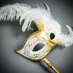 ILOVEMASKS Handheld Stick for DIY Stick Mask Gold Masquerade Ball Party Mask